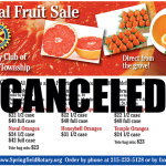 Remainder of Annual Fruit Sale is Canceled